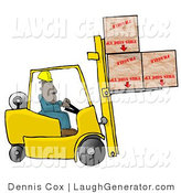 Humorous Clip Art of an Ethnic Forklift Driver Delivering Fragile Boxes Upside down by Djart