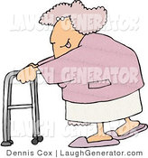 Humorous Clip Art of an Flirty Obese Woman Sticking Her Tongue out and Looking over Her Shoulder While Using a Walker by Djart
