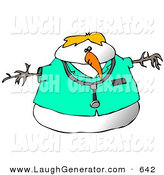Humorous Clip Art of an Obese Doctor Snowman Wearing a Stethoscope by Djart