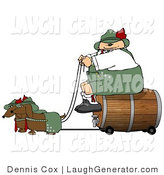 Humorous Clip Art of an Obese German Man Transporting a Wooden Barrel/Keg of Beer to a Party by Djart