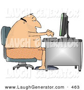 Humorous Clip Art of an Obese Man in His Boxers and Slippers, Typing on a Computer at a Desk by Djart