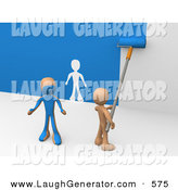 Humorous Clip Art of an Orange Person Using a Roller to Apply Blue Paint to a White Wall and Accidentally Painting a Friend, Leaving a White Outline on the Wall by 3poD