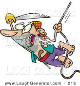 Humorous Clip Art of an Outgoing Pirate with a Sword Swinging on a Rope by Toonaday