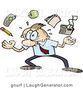 Humorous Clip Art of an Overwhelmed Caucasian Businessman Juggling Work Tasks Represented by a Pencil, Cell Phone, Apple, Notepad and Calculator, Trying to Handle All of His Responsibilities by Gnurf