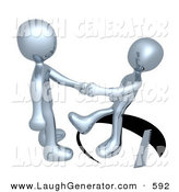 Humorous Clip Art of an Unsuspecting Chrome Man Shaking Hands on a Deal with Another Man As a Saw Cuts a Circle out from Under Him and He Slips on White by 3poD
