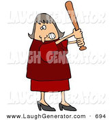 Humorous Clip Art of AnAngry White Woman in a Red Dress and Heels, Swinging a Wooden Baseball Bat After Someone Really Ticked Her off by Djart