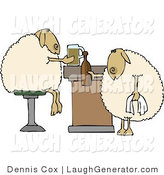 Humorous Clip Art of Anthropomorphic Sheep Drinking Beer While Sitting at a Bar by Djart