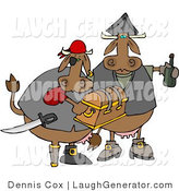 Humorous Clip Art of Cow Pirates Carrying Their Booty - a Treasure Chest and Bottle of Rum by Djart