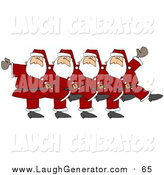 Humorous Clip Art of Five Santas Kicking Their Legs up While Dancing in a Chorus Line by Dennis Cox