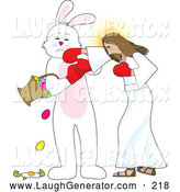Humorous Clip Art of Funny Jesus Boxing with the Easter Bunny, Socking Him in the Face As He Spills and Breaks Eggs from a Basket by Maria Bell