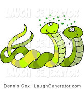 Humorous Clip Art of Green Male and Female Snakes Together by Djart
