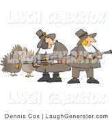 Humorous Clip Art of Hunting Pilgrim Women Armed with Turkey Bird Musket Gun - Thanksgiving by Djart