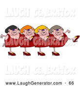Humorous Clip Art of Lady Pigs Dancing in a Chorus Line by Djart