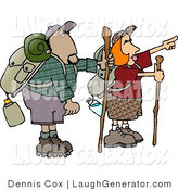 Humorous Clip Art of Male and Female Hikers with Backpacks, Canteens, Sleeping Bags, and Walking Sticks, Hiking and Pointing to Something by Djart