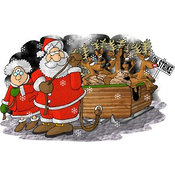 Humorous Clip Art of Santa Claus and Mrs Santa Claus Pulling Toys and Reindeer Santa's Sleigh Because the Reindeer Are on Strike on Christmas by Djart