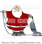 Humorous Clip Art of Santa Claus in Uniform, Vacuuming Carpet with a Vacuum Cleaner by Djart