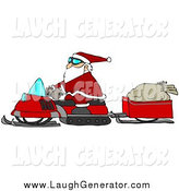 Humorous Clip Art of Santa Claus Snowmobiling by Djart