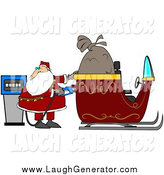 Humorous Clip Art of Santa Claus Watching the Cost Rise on the Gas Pump While Filling His Sleigh with Gasoline on His Delivery Route by Djart