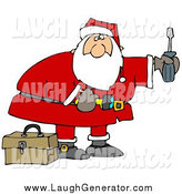 Humorous Clip Art of Santa Looking to Do Home Repairs As a Christmas Gift by Djart