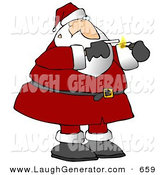 Humorous Clip Art of Santa Smoking a Cigarette on a Smoke Break on White by Djart