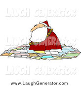 Humorous Clip Art of Santa Wading in Letters by Djart