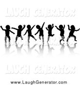 Humorous Clip Art of Seven Black Silhouetted Dancing Babies and Reflections by KJ Pargeter