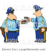 Humorous Clip Art of Two Policemen Toasting Donut and Coffee Cup Together by Djart