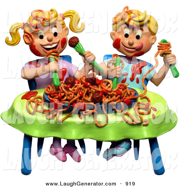 Humorous Clip Art of a 3d Boy and Girl Making a Mess During a Spaghetti Dinner While Sitting at a Table