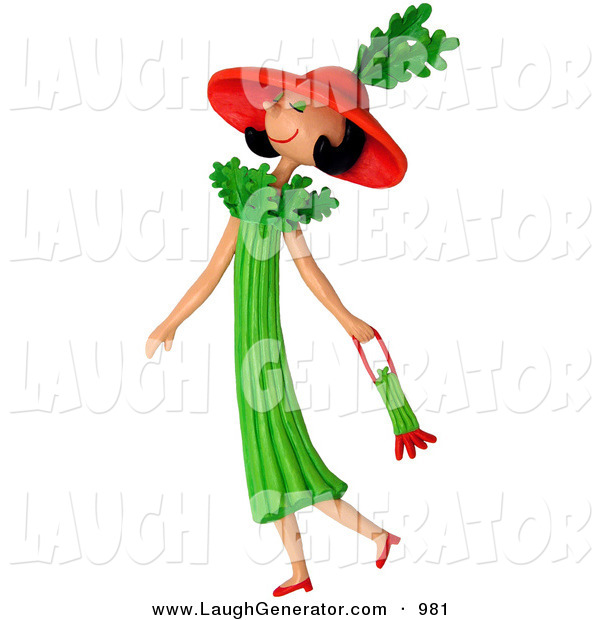 Humorous Clip Art of a 3d Celery Woman Walking with a Purse to the Left