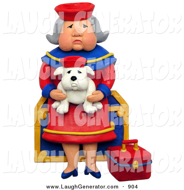 Humorous Clip Art of a 3d Grandmother Sitting on a Chest with Her Lookalike Bulldog