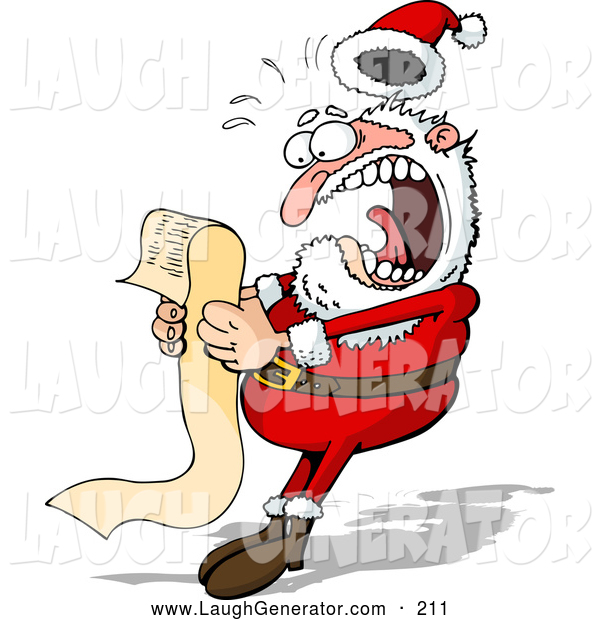 Humorous Clip Art of a Alarmed Santa Claus Screaming in Shock While Reading a Long Wish List from a Child