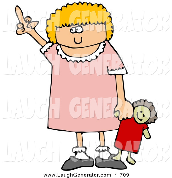 Humorous Clip Art of a Angry Little Blond Girl Holding Her Dolly and Flipping Someone off After Not Getting What She Wants