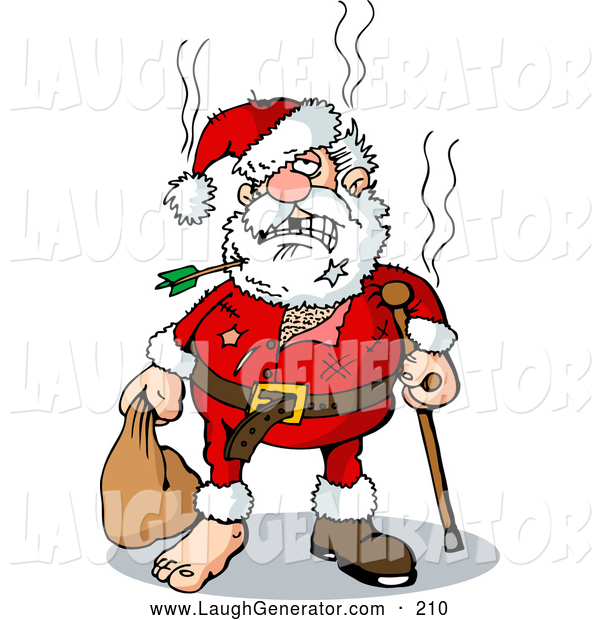 Humorous Clip Art of a Awful Looking Beat up Santa with an Arrow Through His Beard, Missing Teeth, Tears, a Cane, and a Missing Shoe