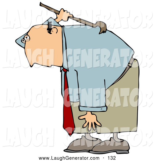 Humorous Clip Art of a Bald Caucasian Businessman Bending over and Scratching an Itch on His Back with a Back Scratcher