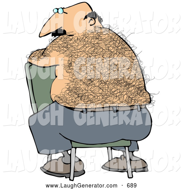 Humorous Clip Art of a Bald, Middle Aged Caucasian Man with a Very Hairy Back Sitting Backwards in a Chair