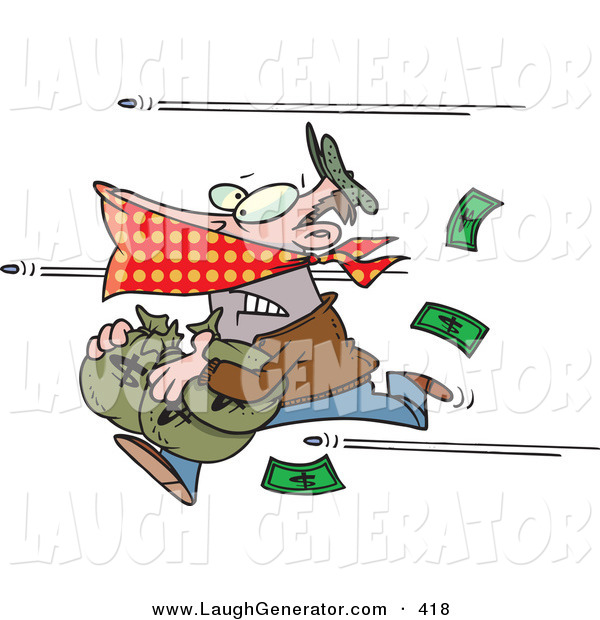 Humorous Clip Art of a Bank Robber Man Running with Money, Bullets Being Shot at Him