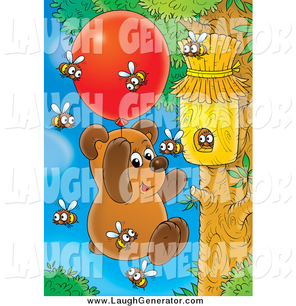Humorous Clip Art of a Bear Cub Floating with a Balloon by a Bee Hive to Collect Honey