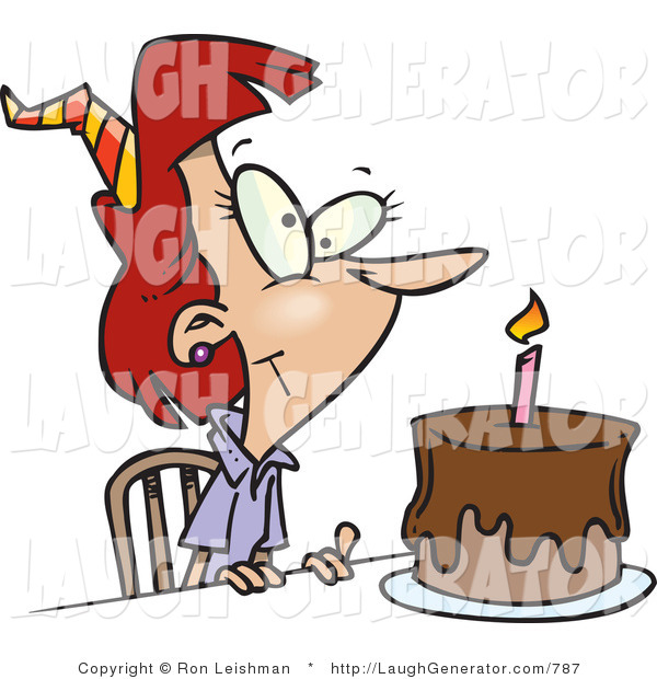 Humorous Clip Art of a Birthday Woman with Candle on a Chocolate Slice of Birthday Cake