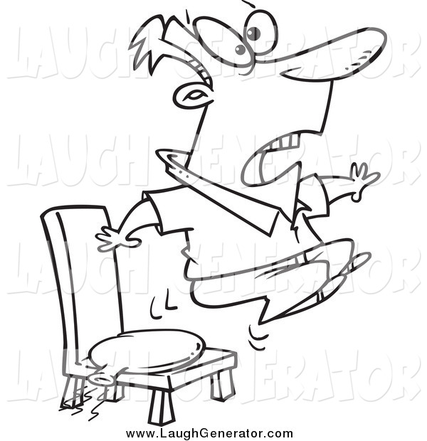 Humorous Clip Art of a Black and White Bouncing out of His Chair After Sitting on a Whoopee Cushion