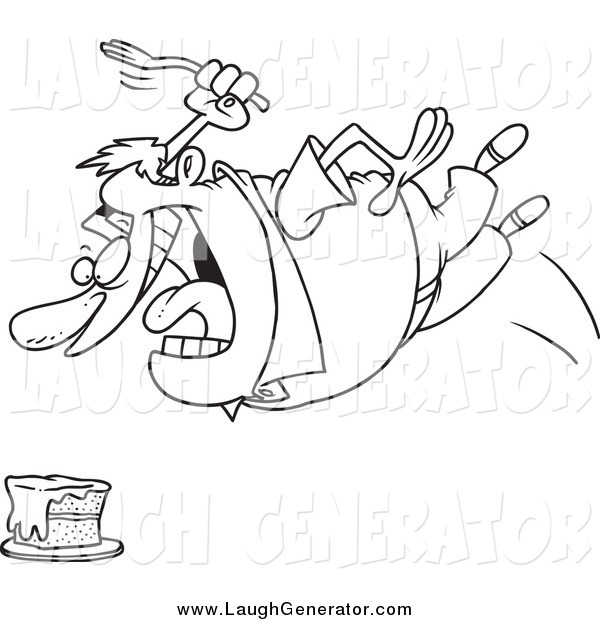 Humorous Clip Art of a Black and White Chubby Man Diving for Cake