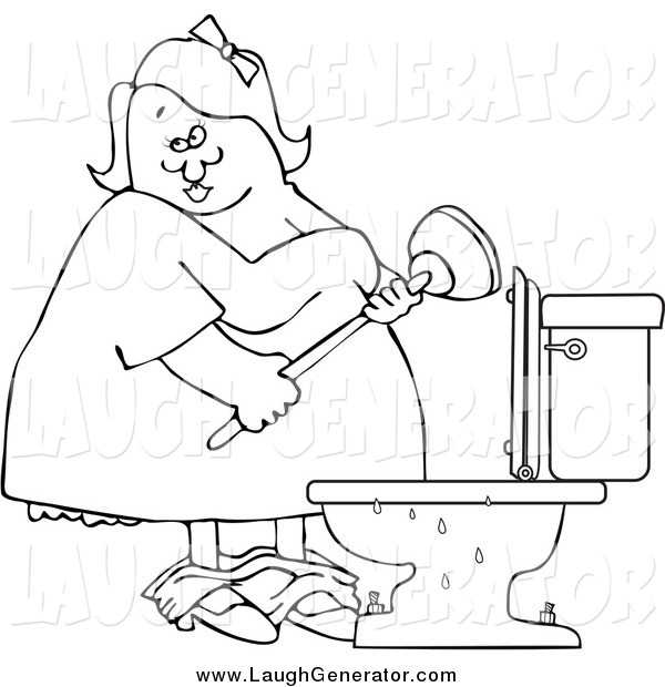 Humorous Clip Art of a Black and White Chubby Woman with a Plunger over a Clogged Toilet