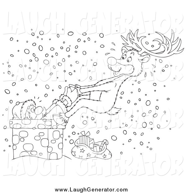 Humorous Clip Art of a Black and White Reindeer Rescuing Santa from a Chimney in the Snow