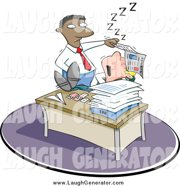 Humorous Clip Art of a Black Boss Discovering a White Employee Sleeping on the Job