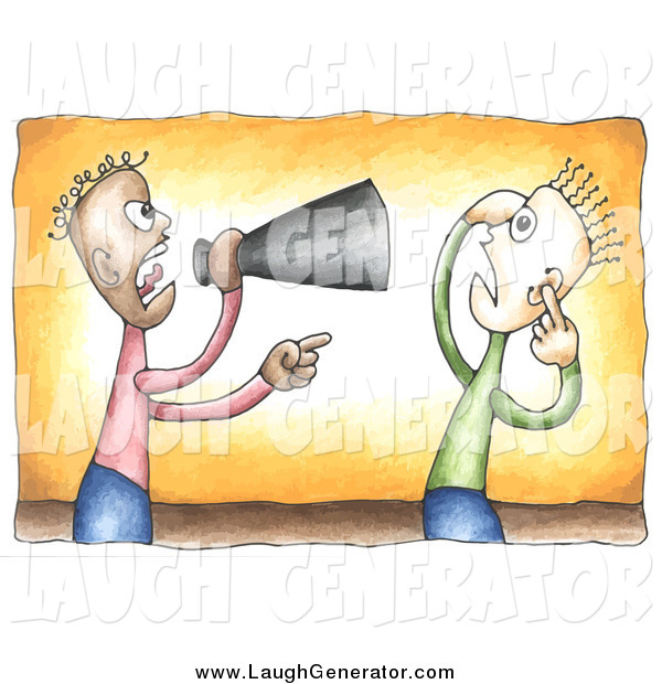 Humorous Clip Art of a Black Businessman Shouting Through a Megaphone at a White Employee