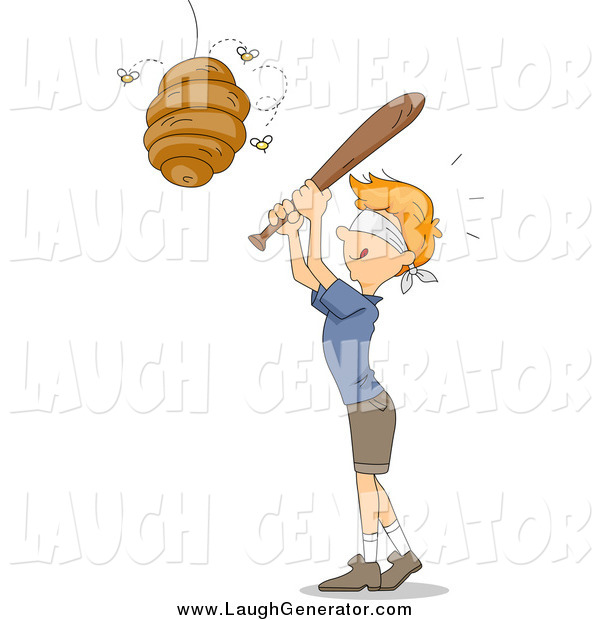 Humorous Clip Art of a Blindfolded Red Haired White Boy Whacking a Beehive like a Pinata