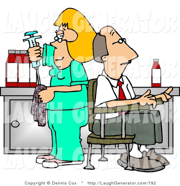 Humorous Clip Art of a Blond Nurse Nurse Cleaning Needle After Drawing Blood Samples from Male Patient - Medical Humor