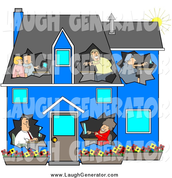 Humorous Clip Art of a Blue House with People Using Computers in Their Own Rooms