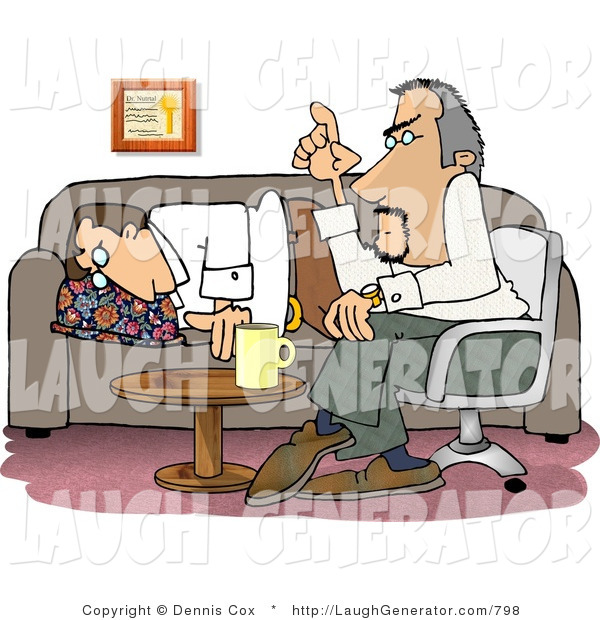 Humorous Clip Art of a Bored Psychiatric Patient Falling Asleep to Psychiatrist As He Psychoanalyzes