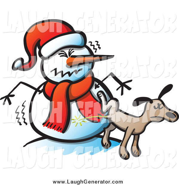 Humorous Clip Art of a Brown Dog Peeing on a Mad Snowman