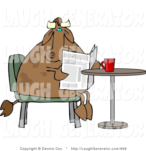 Humorous Clip Art of a Brown Male Cow Reading the Daily Newspaper with Coffee